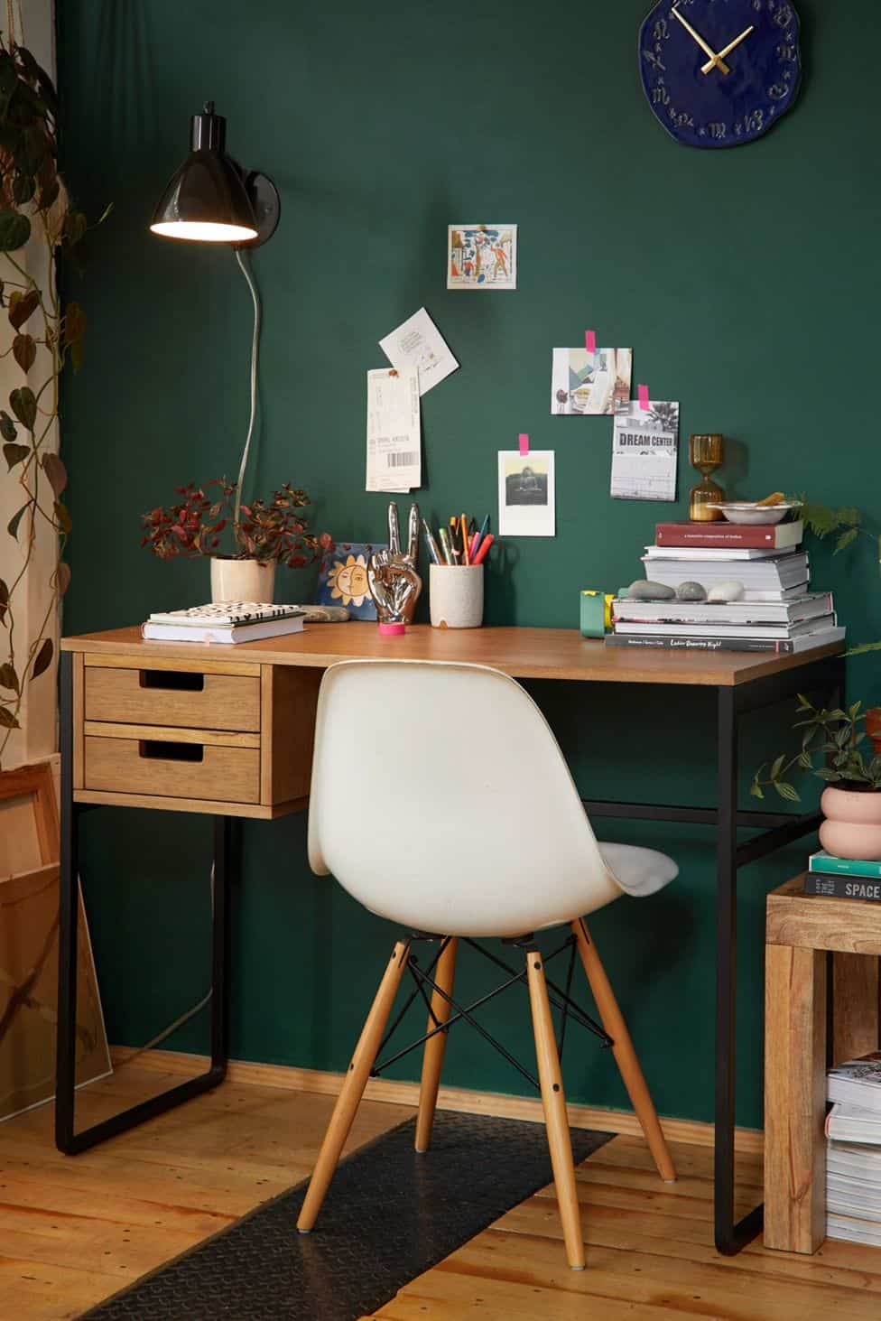 urban outfitters desk with green wall, home office with green wall