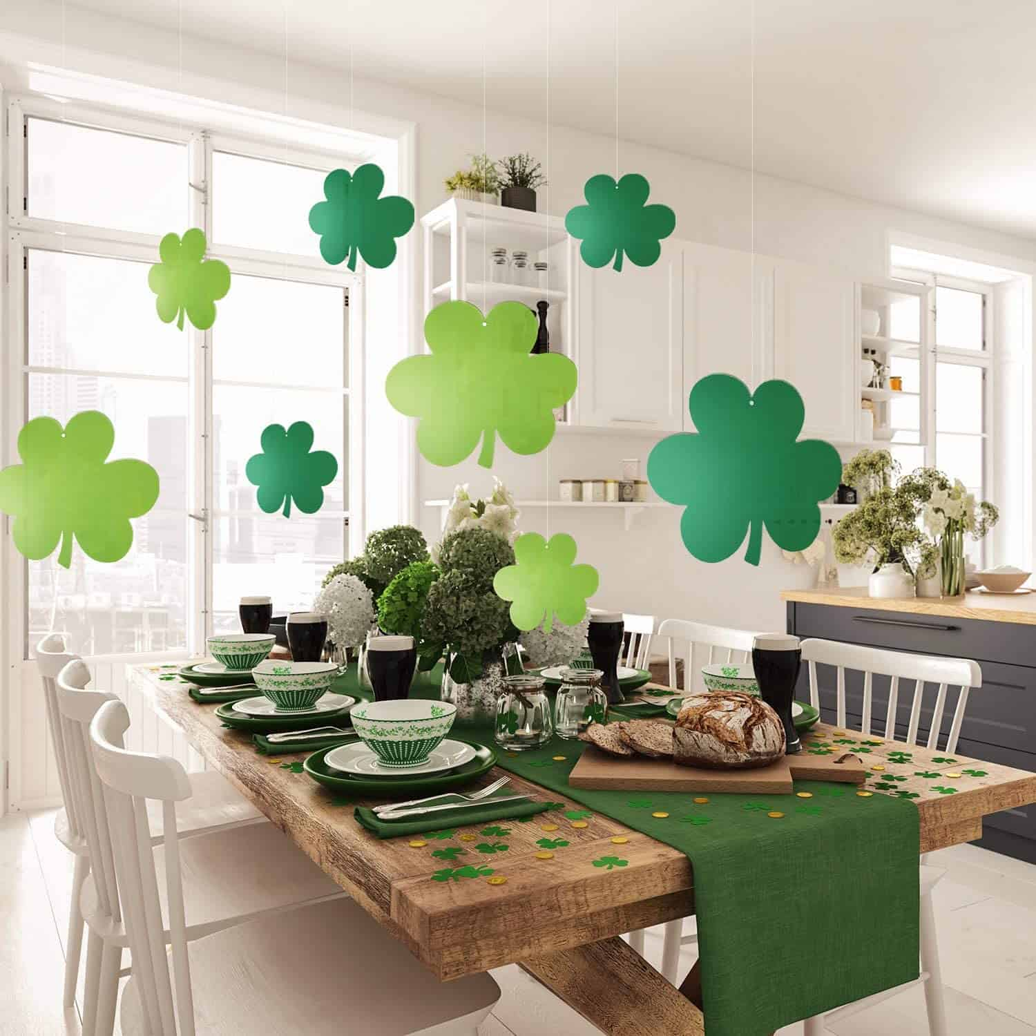 farmhouse dining table decorated for st. patrick's day