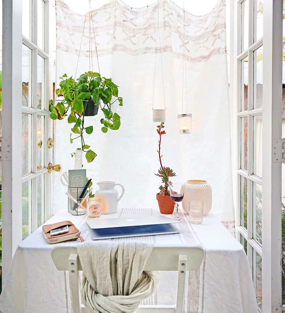 small home office in front of patio doors
