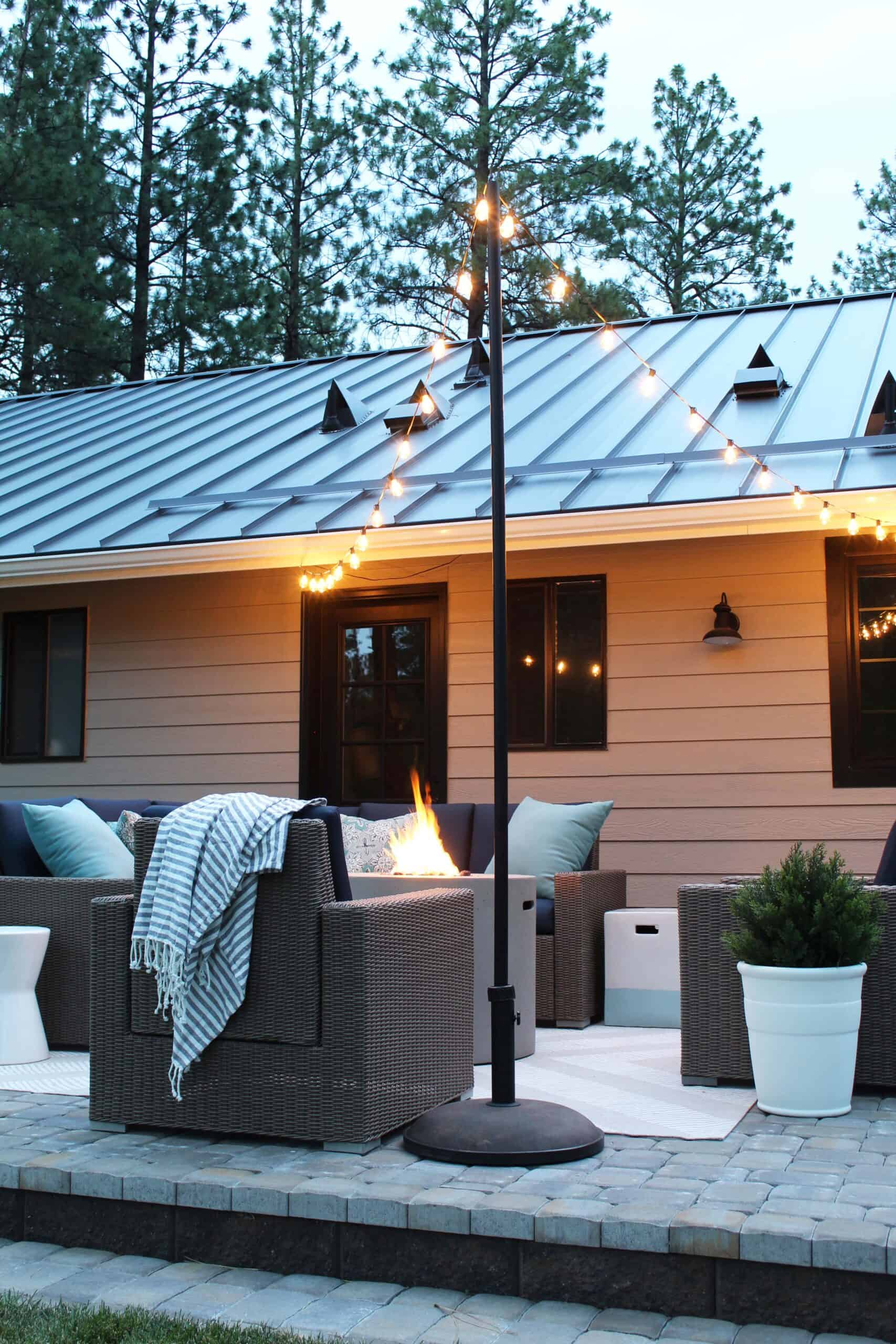 how to add string lights to your patio