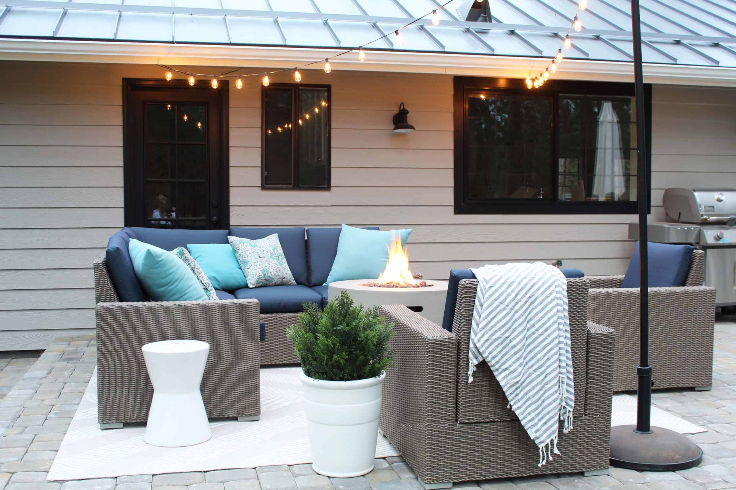how to add string lights to your patio, target wicker outdoor furniture set, round cement fire pit