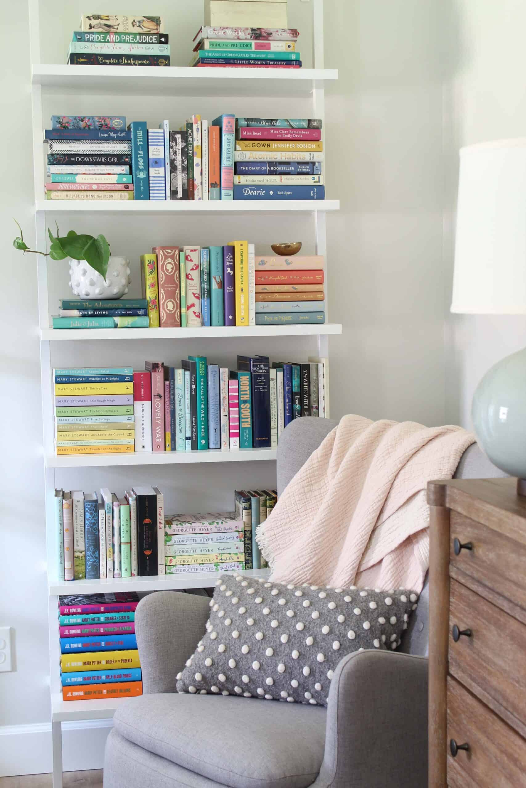 ladder bookshelf with penguin clothbound classics and wordsworth collector editions