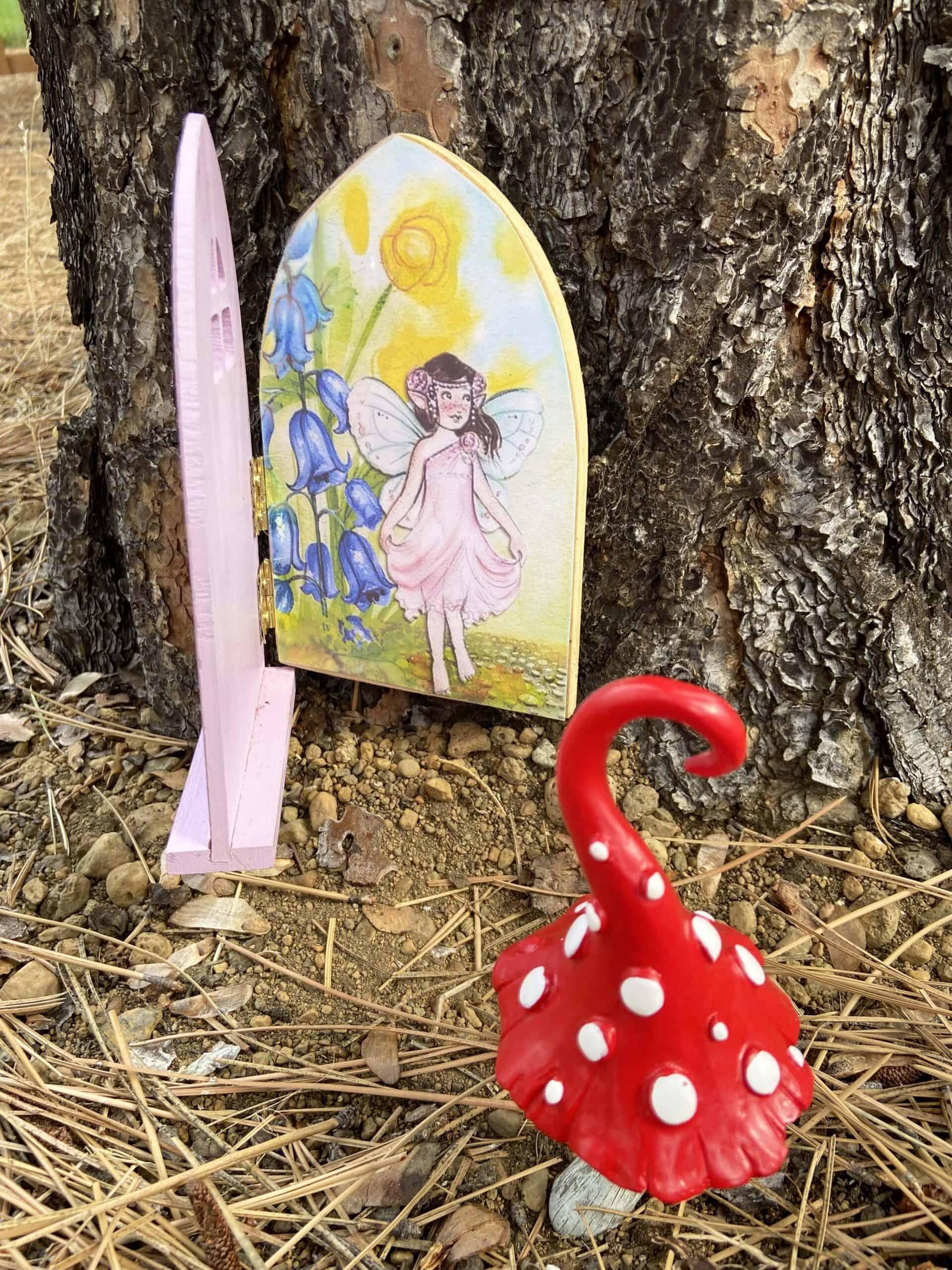 outdoor fairy scene inside a fairy door