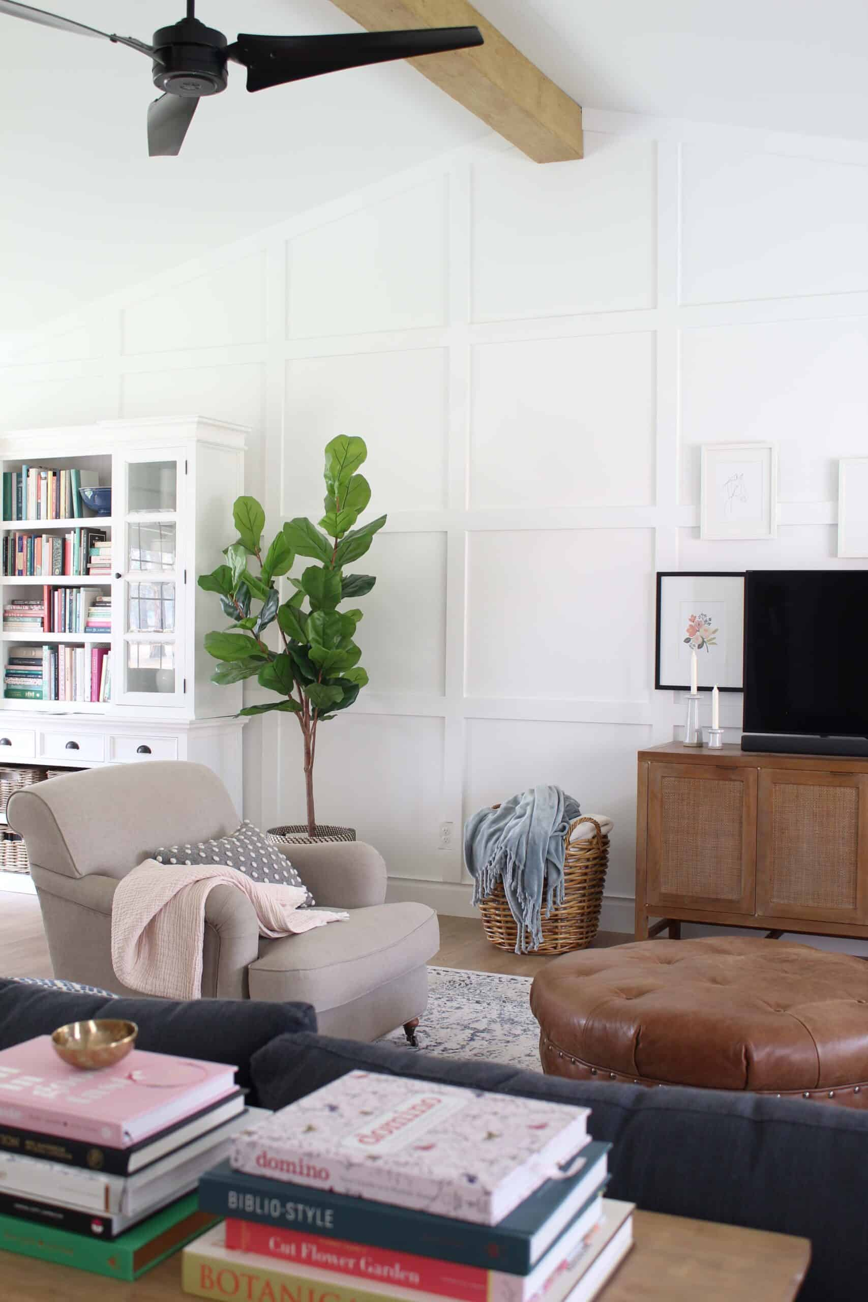 living room with white walls and white box trim moulding